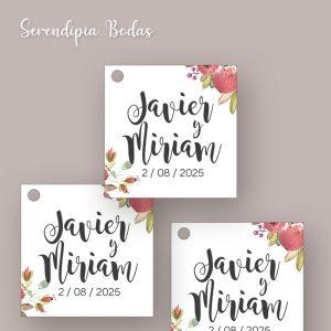 etiqueta detalles boda boho floral
