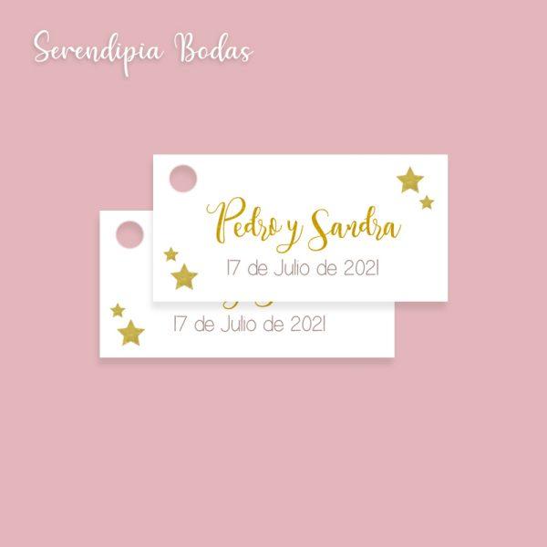 etiqueta detalles boda noche de estrellas
