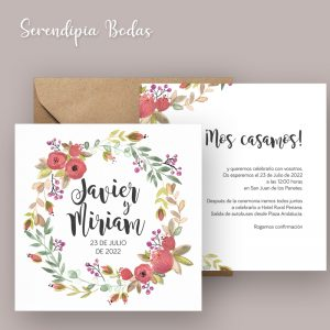 invitacion boda boho floral doble cara