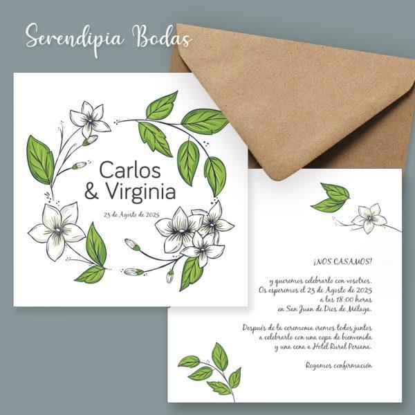invitacion boda campestre doble cara