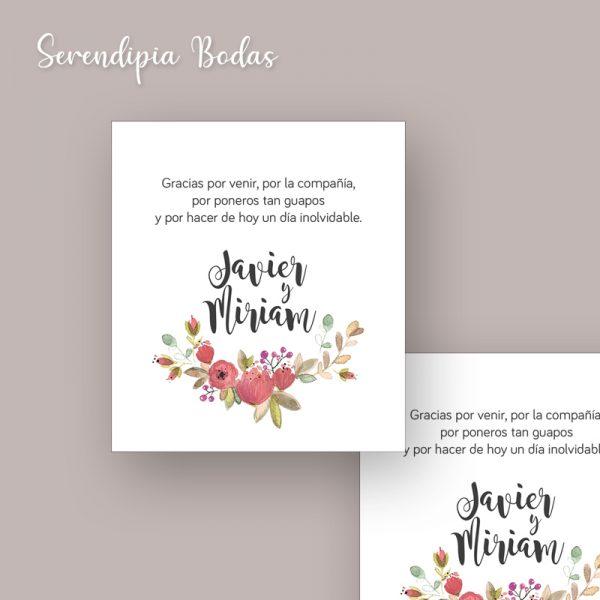 tarjeta agradecimiento boda boho floral