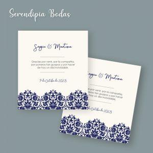 tarjeta agradecimiento boda classic