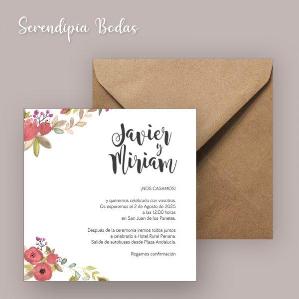 invitacion boda boho floral