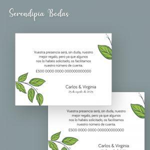 Tarjeta de datos boda Campestre